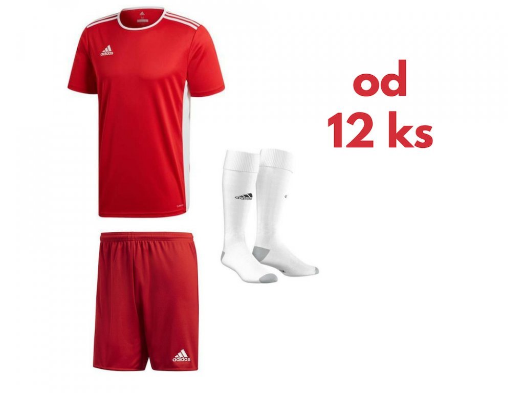 Futbalová sada Adidas Entrada 18 pre celé mužstvo, od 12 ks, červená