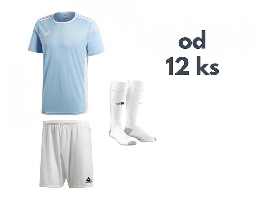 Futbalová sada Adidas Entrada 18 pre celé mužstvo, od 12 ks, svetlomodrá