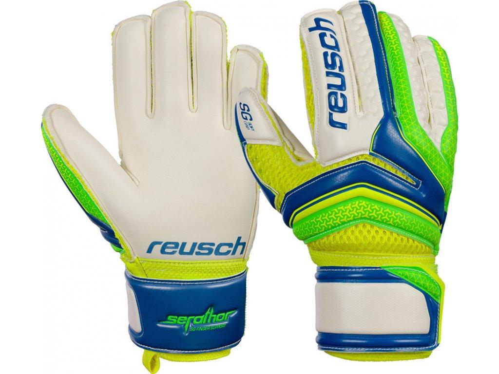 Detské brankárske rukavice Reusch Serathor SG Finger Support Junior 3772810 407