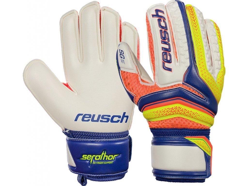 Detské brankárske rukavice Reusch Serathor SG Finger Support Junior 3772810 456