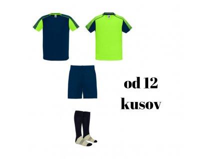 Futbalová sada Juve pre celé mužstvo, od 12 ks, jasná zelená / tmavomodrá