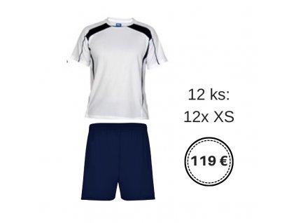 12ks Futbalová sada pre U11 , biela / tmavomodrá,