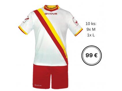 10 ks Futbalová sada Traversal na malý futbal, alebo sálovku, biela / červená, 9xM + 1xL