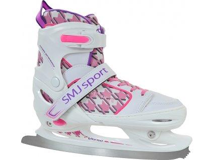 Krasokorčuliarske korčule SMJ CRK 41 Pepitka biela / ružová