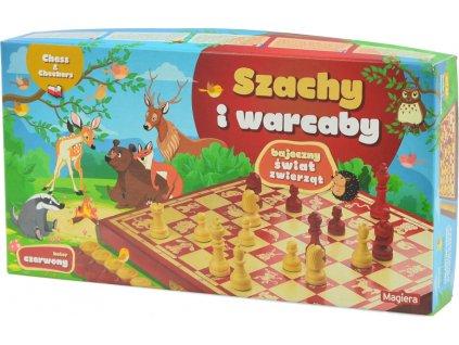 Šachy a dáma Rozprávka Animal World 25cm