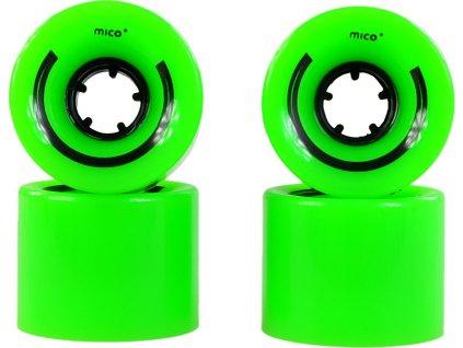 Plastové kolieska na pennyboard 60x45mm 4kusy zelené