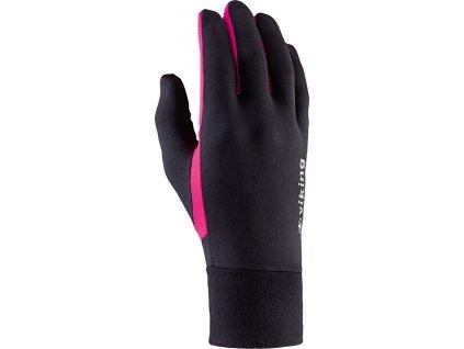 Bežecké rukavice Viking Runway Multifunction čierna / ružová 140-18-2740-46