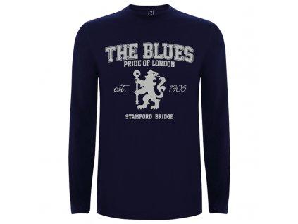 Pánske tričko dlhý rukáv the blues, tmavo modré, veľkosť 2XL