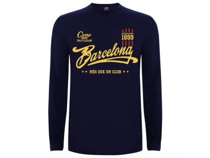Detské tričko dlhý rukáv Barcelona, tmavo modré, veľkosť 11/12 rokov