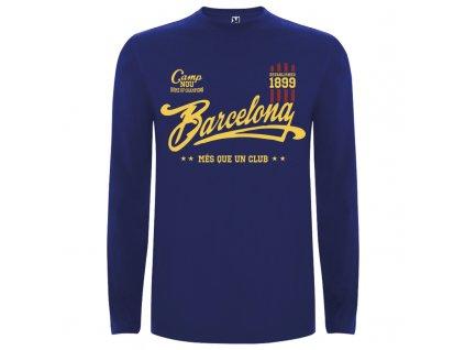 Detské tričko dlhý rukáv Barcelona, modré, veľkosť 11/12 rokov