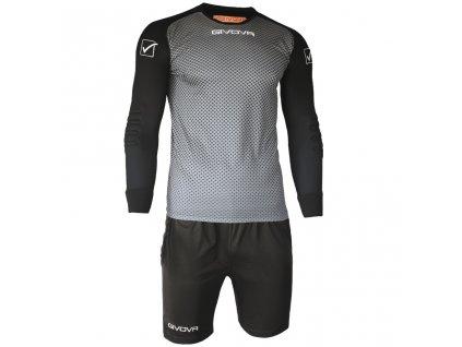 Brankársky set dres + šortky Givova Portiere, sivá / čierna, veľkosť 2XL