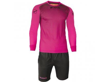 Brankársky set dres + šortky Givova Portiere, ružová / čierna, veľkosť 2XS
