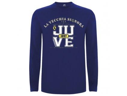 Pánske tričko dlhý rukáv Juve, kráľovsky modré, veľkosť M