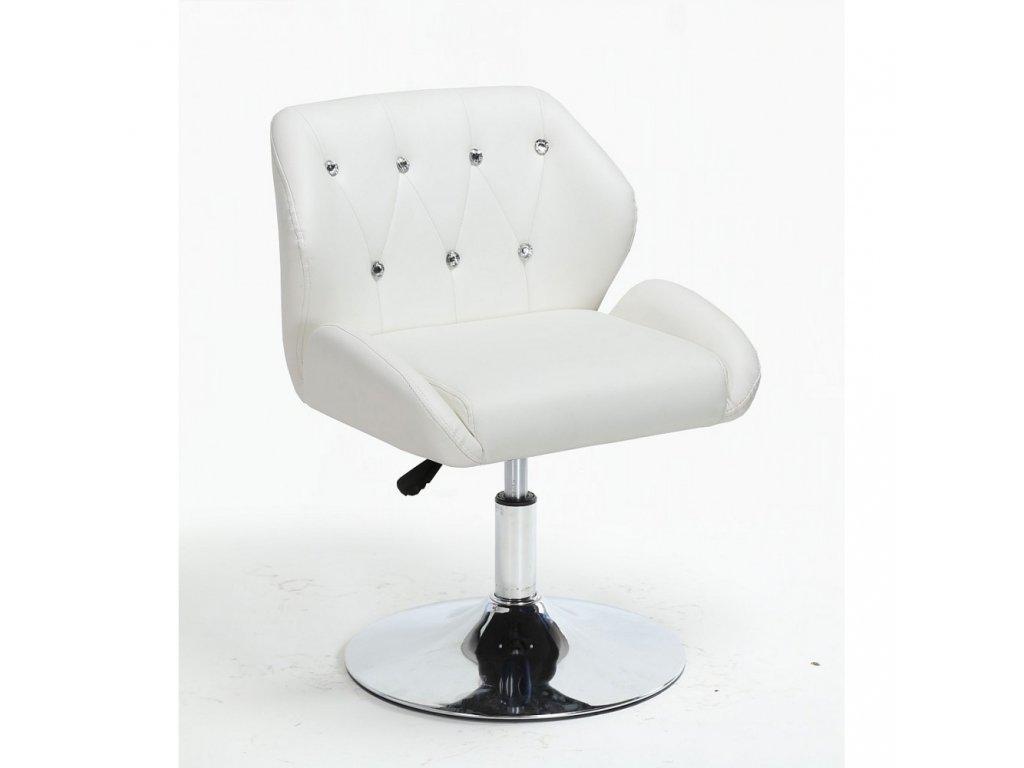 Pracovní / kosmetická židle PALERMO na kulaté podstavě - bílá