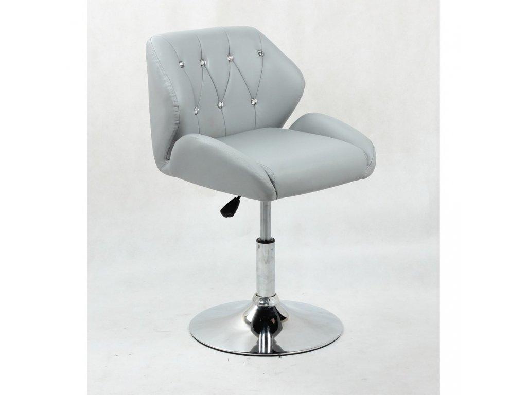 Pracovní / kosmetická židle PALERMO na kulaté podstavě - šedá