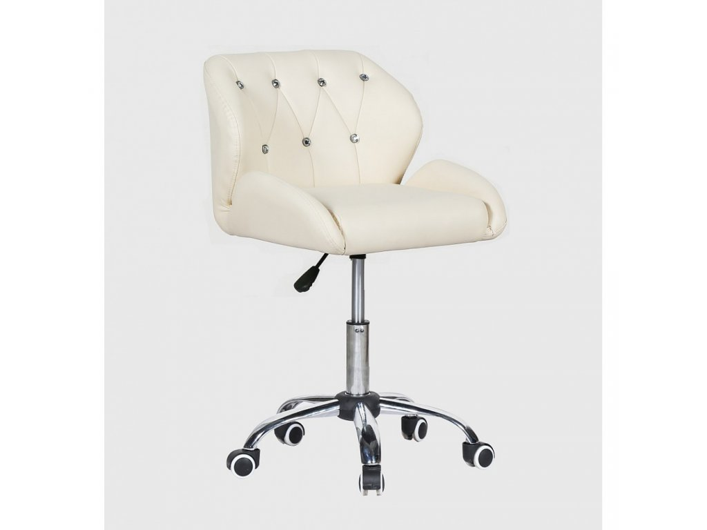 Pracovní / kosmetická židle PALERMO na kolečkové podstavě - krémová