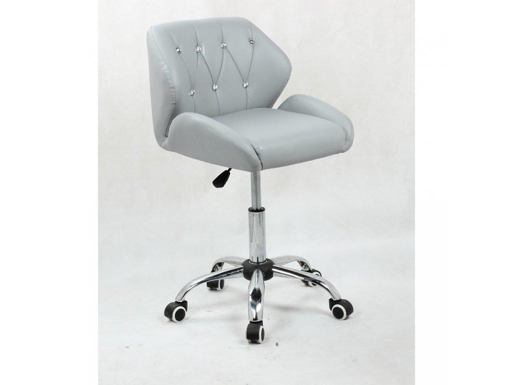 Pracovní / kosmetická židle PALERMO na kolečkové podstavě - šedá