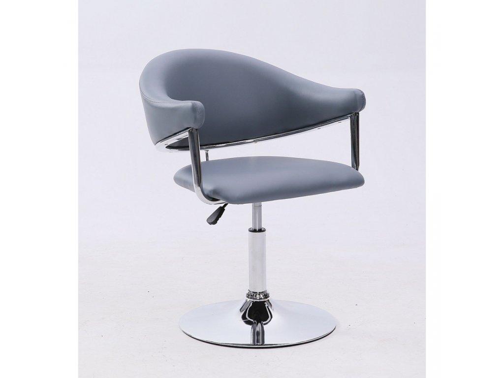 Kosmetická židle BERLIN na kulaté podstavě - šedá