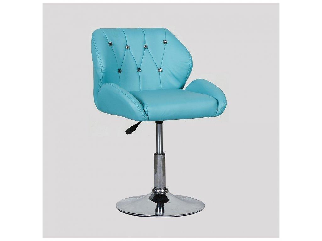 Pracovní / kosmetická židle PALERMO na kulaté podstavě - tyrkysová