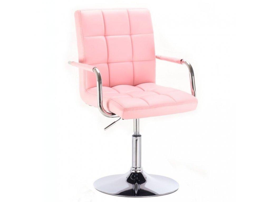Kosmetická židle VERONA na kulaté podstavě - růžová
