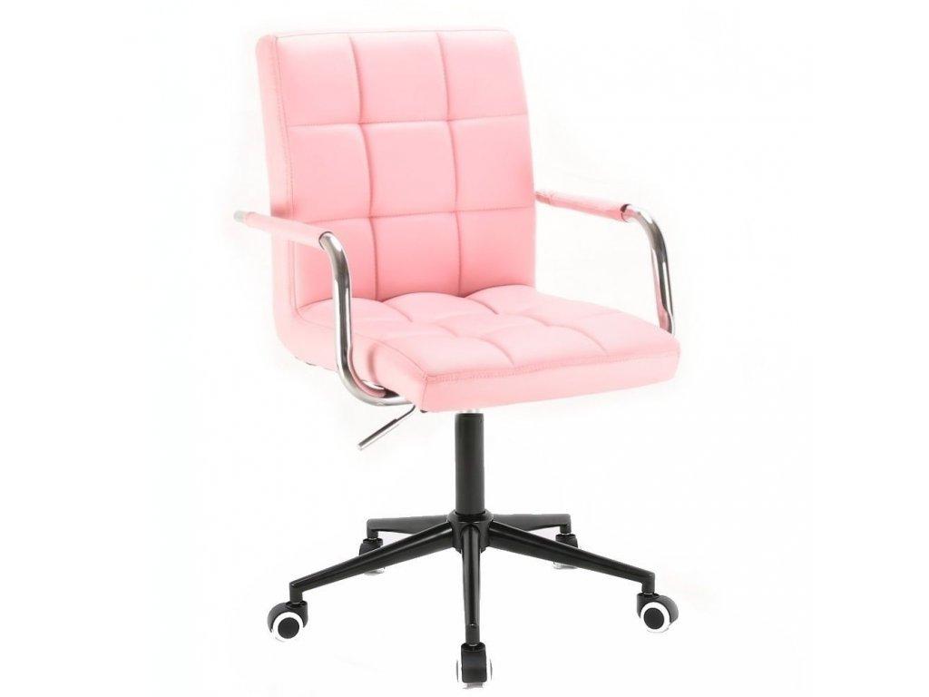 Židle na černé kolečkové podstavě VERONA - růžová
