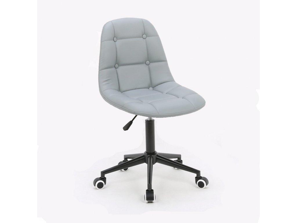Židle na černé podstavě s kolečky LAGOS - šedá