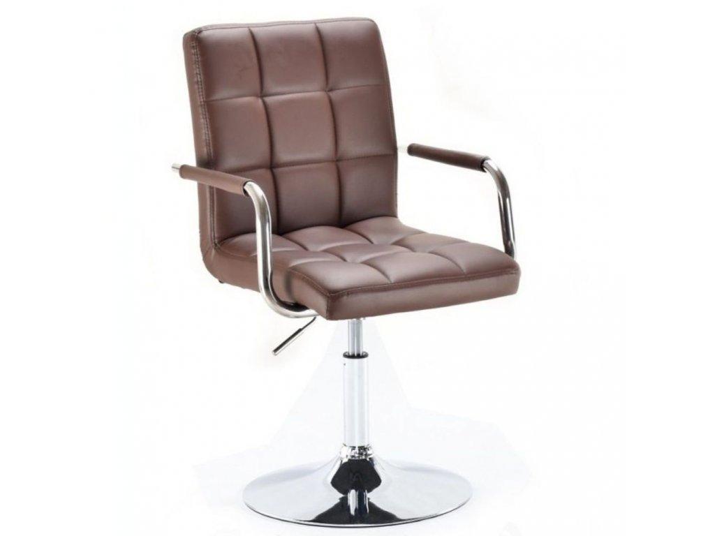 Kosmetická židle VERONA na kulaté podstavě - hnědá