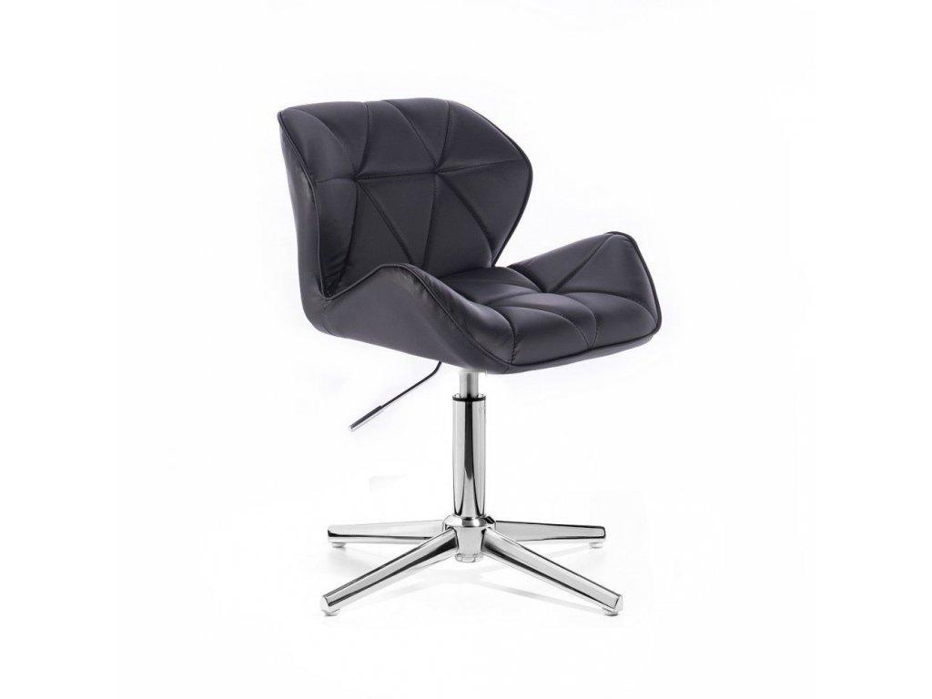 Kosmetická židle MILANO stříbrné čtyřramenné podstavě - černá
