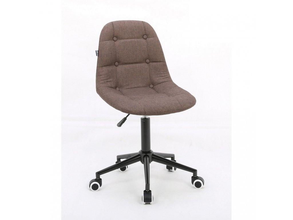 Židle na černé podstavě s kolečky LAGOS tkanina - mokka