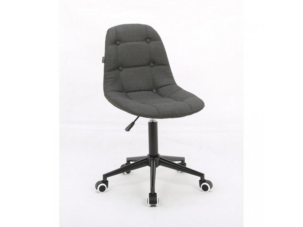 Židle na černé podstavě s kolečky LAGOS tkanina - grafitová