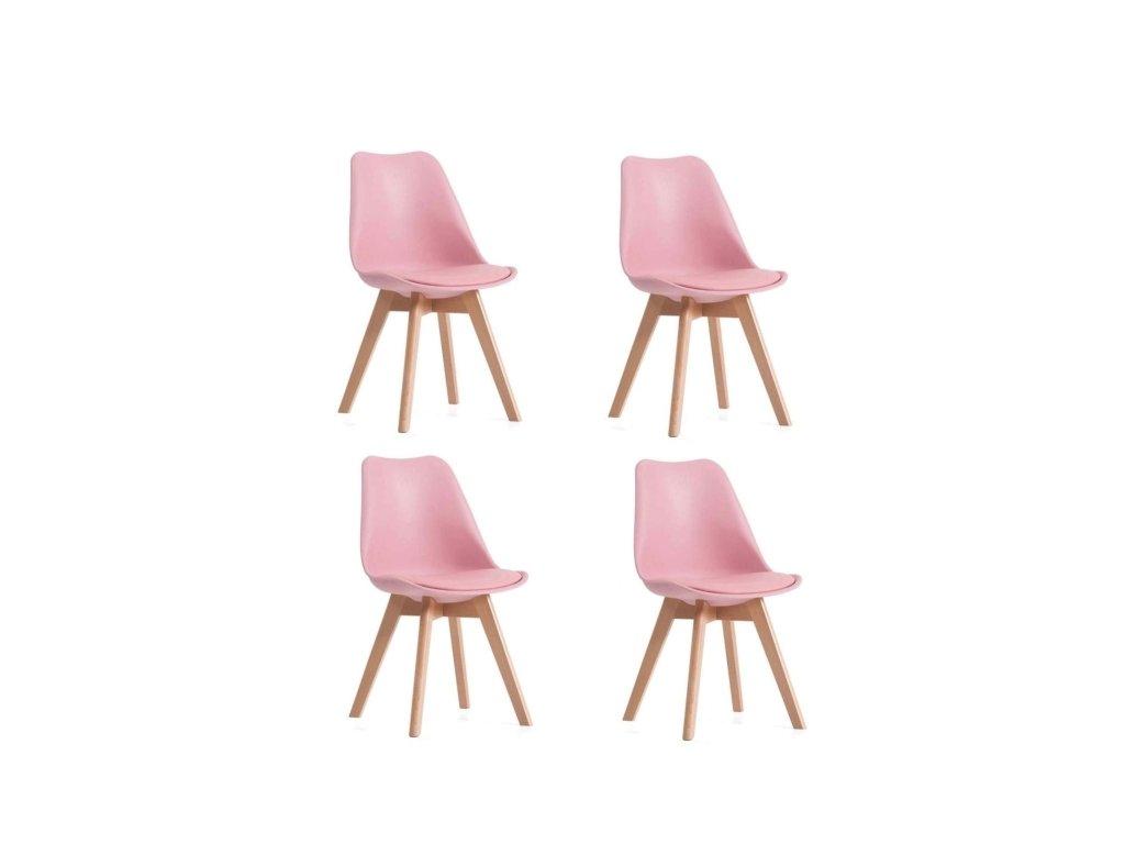 Jídelní židle PORTO - růžová (sada 4ks)