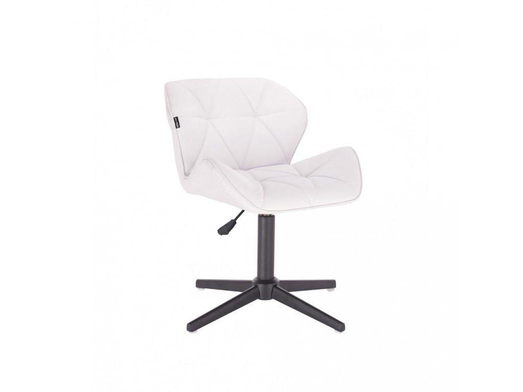 Kosmetická židle MILANO na černé čtyřramenné podstavě - bílá