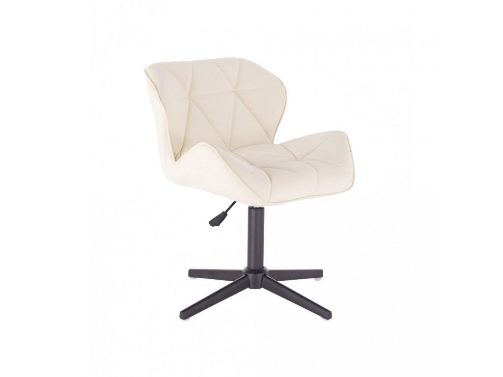 Kosmetická židle MILANO na černé čtyřramenné podstavě - krémová