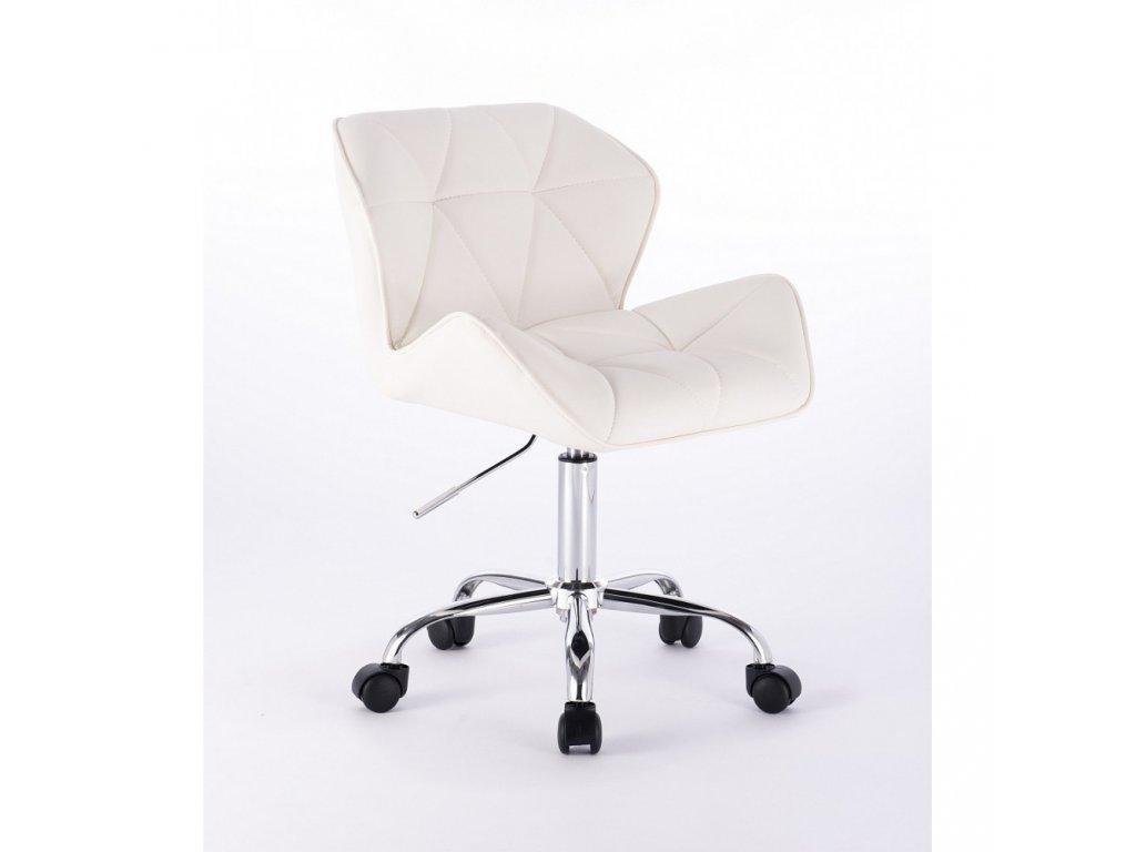 Kosmetická židle MILANO na základní podstavě s kolečky - bílá