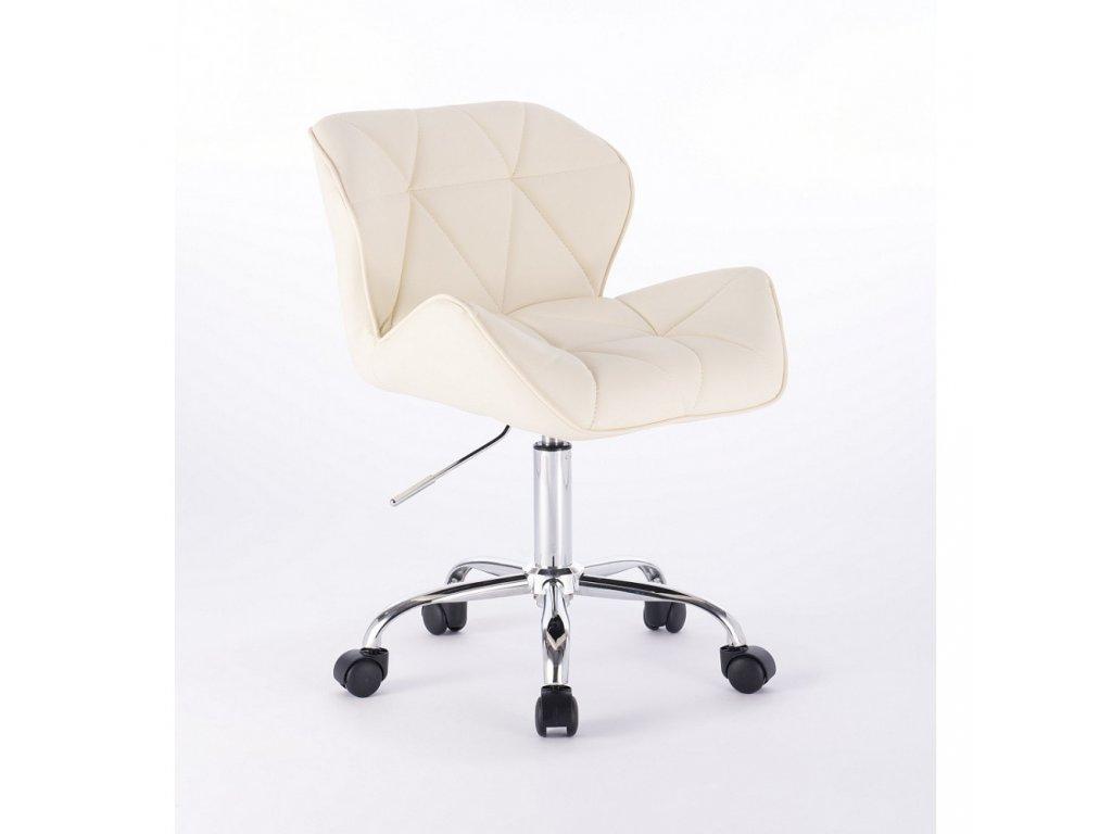 Kosmetická židle MILANO na základní podstavě s kolečky - krémová
