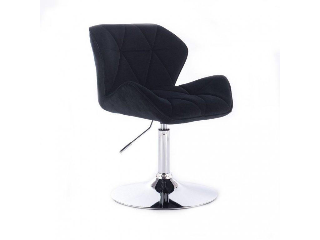 Velurová kosmetická židle MILANO na kulaté podstavě - černá