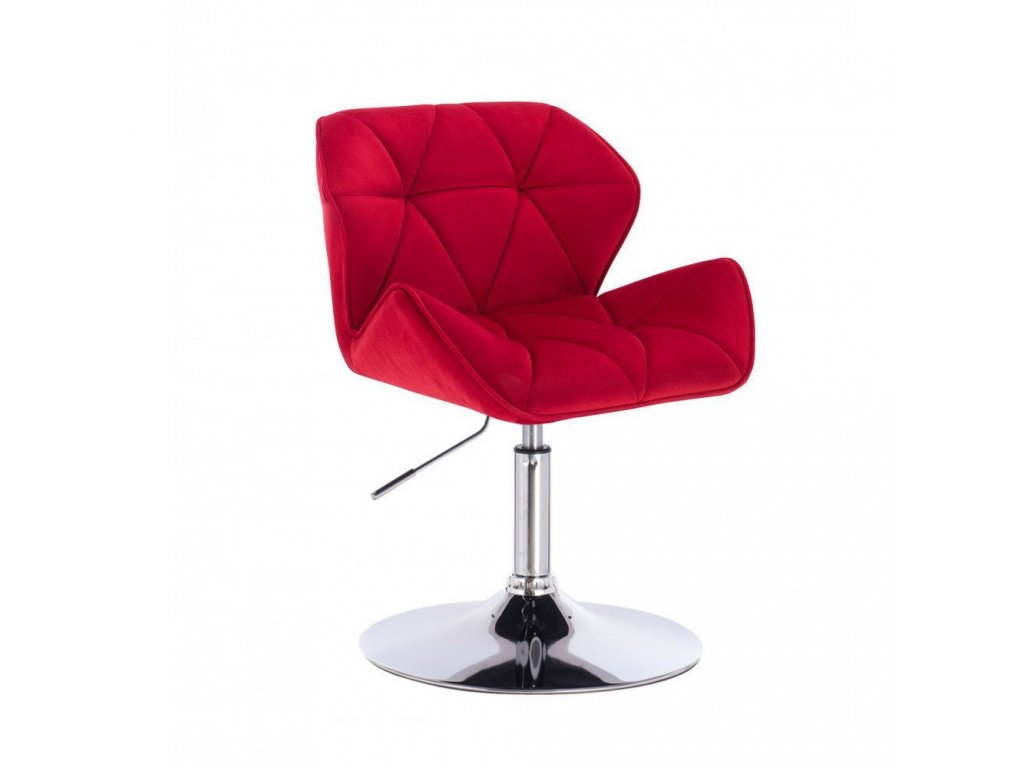 Velurová kosmetická židle MILANO na kulaté podstavě - červená
