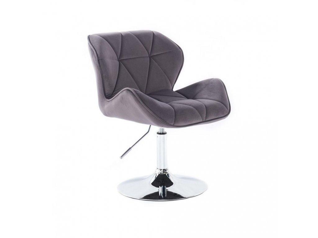 Velurová kosmetická židle MILANO na kulaté podstavě - šedá