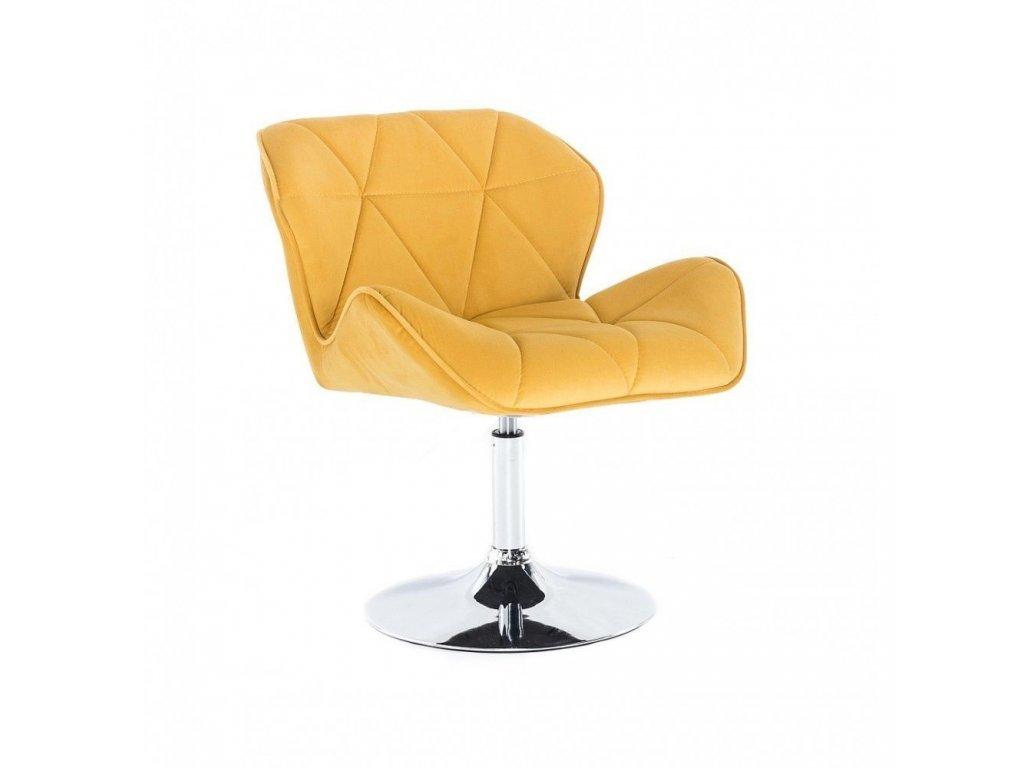 Velurová kosmetická židle MILANO na kulaté podstavě - žlutá