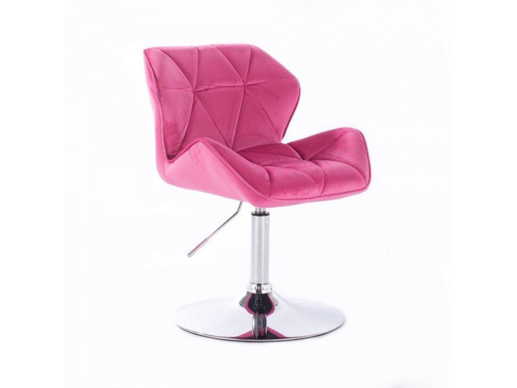 Velurová kosmetická židle MILANO na kulaté podstavě - růžová