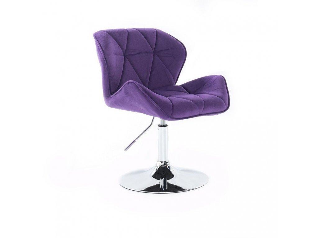 Velurová kosmetická židle MILANO na kulaté podstavě - fialová