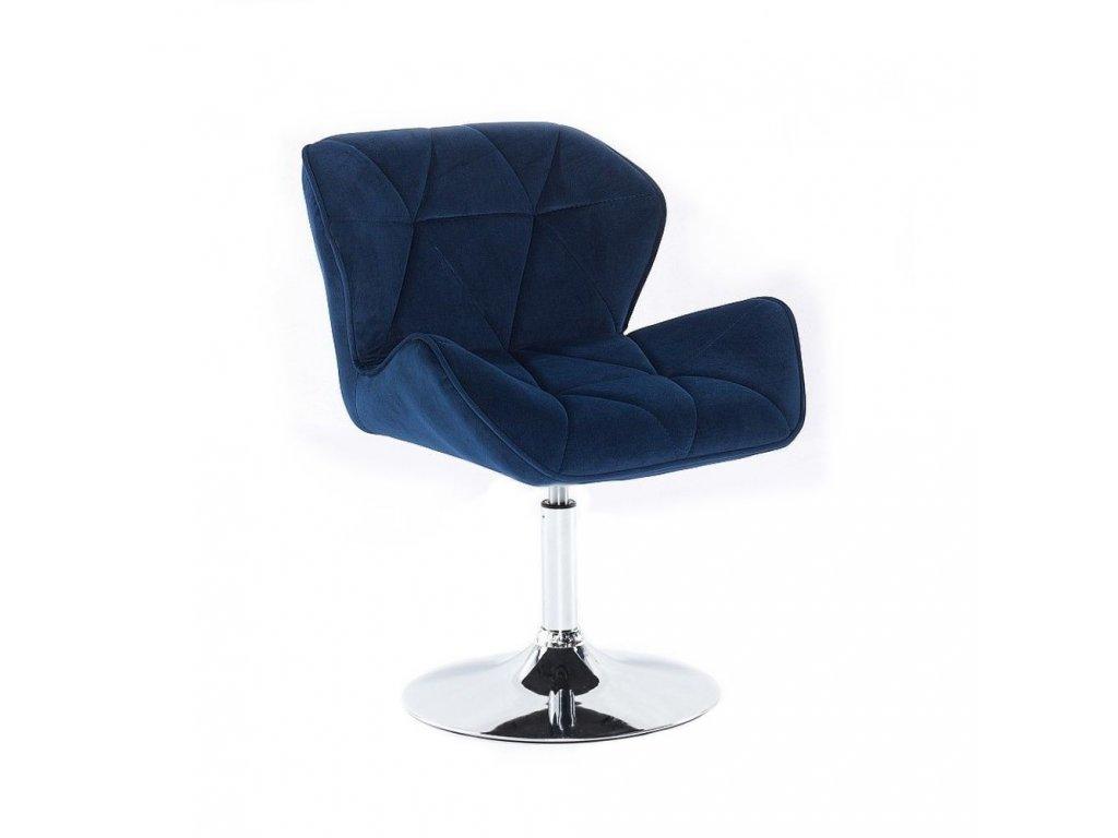 Velurová kosmetická židle MILANO na kulaté podstavě - modrá