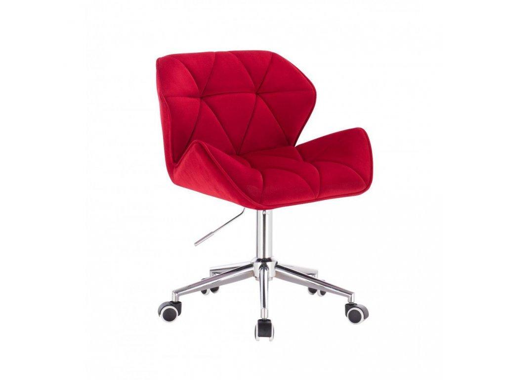 Velurová kosmetická židle MILANO na kolečkách - červená