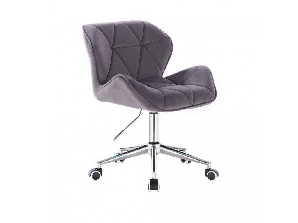 Velurová kosmetická židle MILANO na kolečkách - šedá