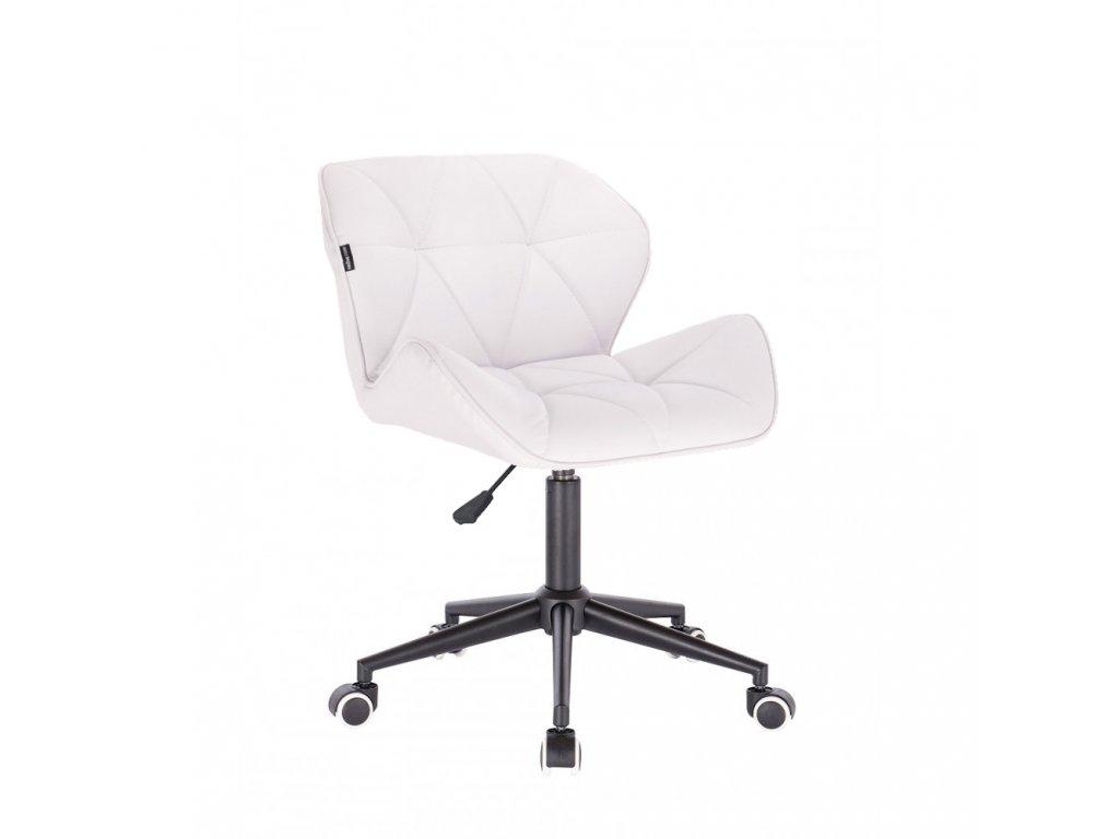 Kosmetická židle MILANO na černé podstavě s kolečky - bílá