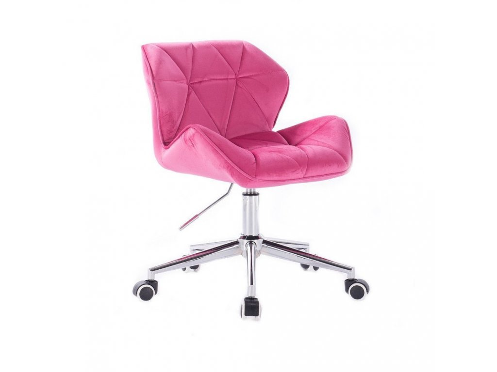 Velurová kosmetická židle MILANO na kolečkách - růžová