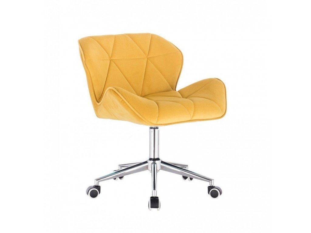 Velurová kosmetická židle MILANO na kolečkách - žlutá