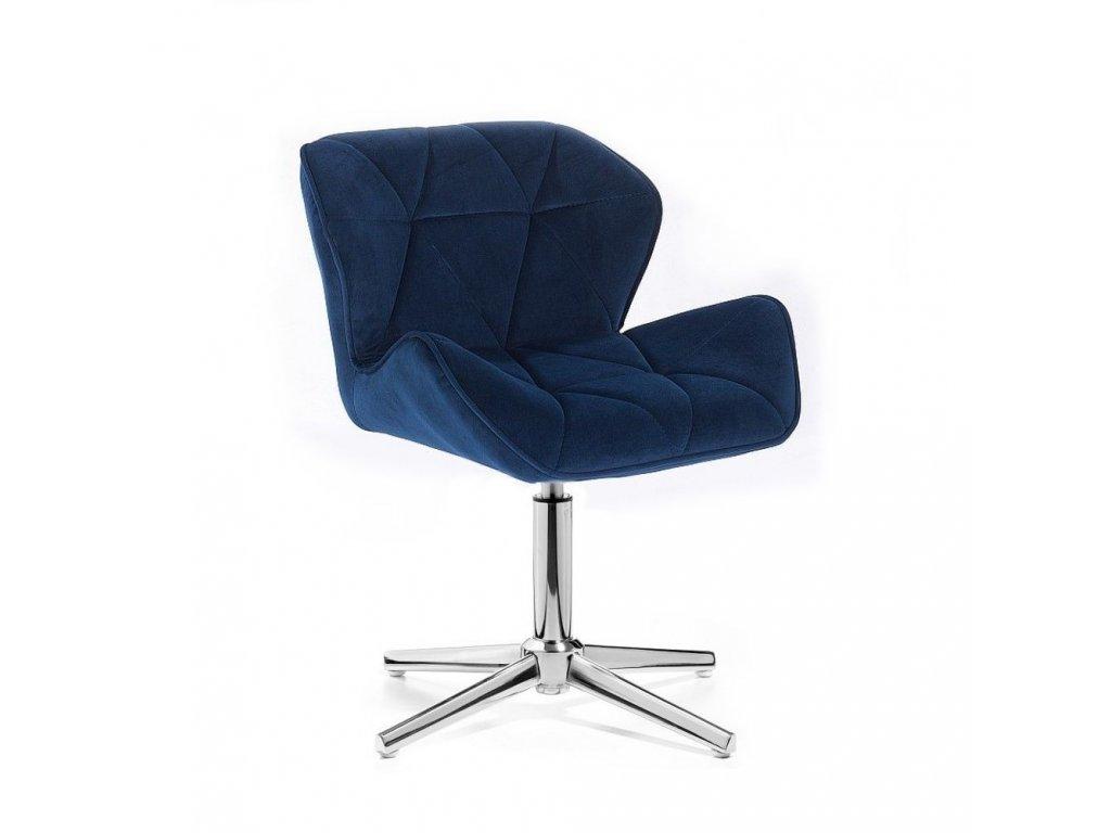 Velurová kosmetická židle MILANO na kříži - modrá