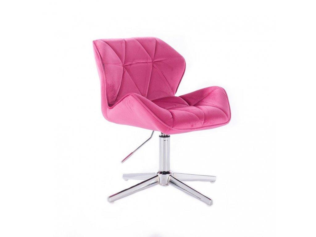 Velurová kosmetická židle MILANO na kříži - růžová