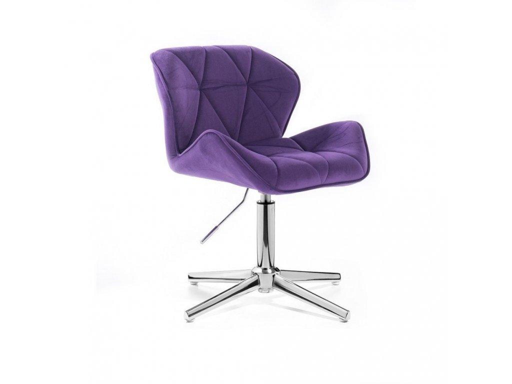 Velurová kosmetická židle MILANO na kříži - fialová